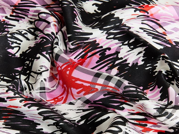 Scribble Check Silk Square Scarf in Fuchsia Pink | Burberry Australia - cell image 1