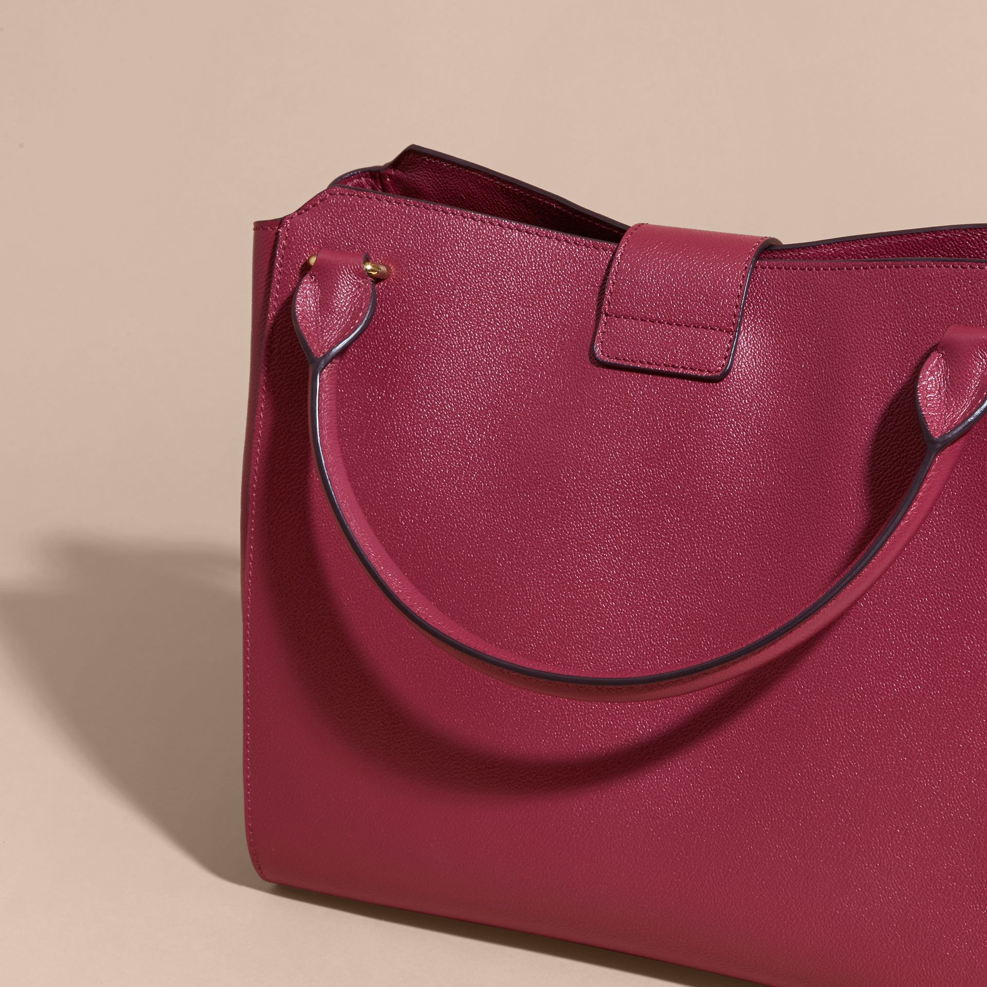 The Large Buckle Tote in Grainy Leather Dark Plum - gallery image 5