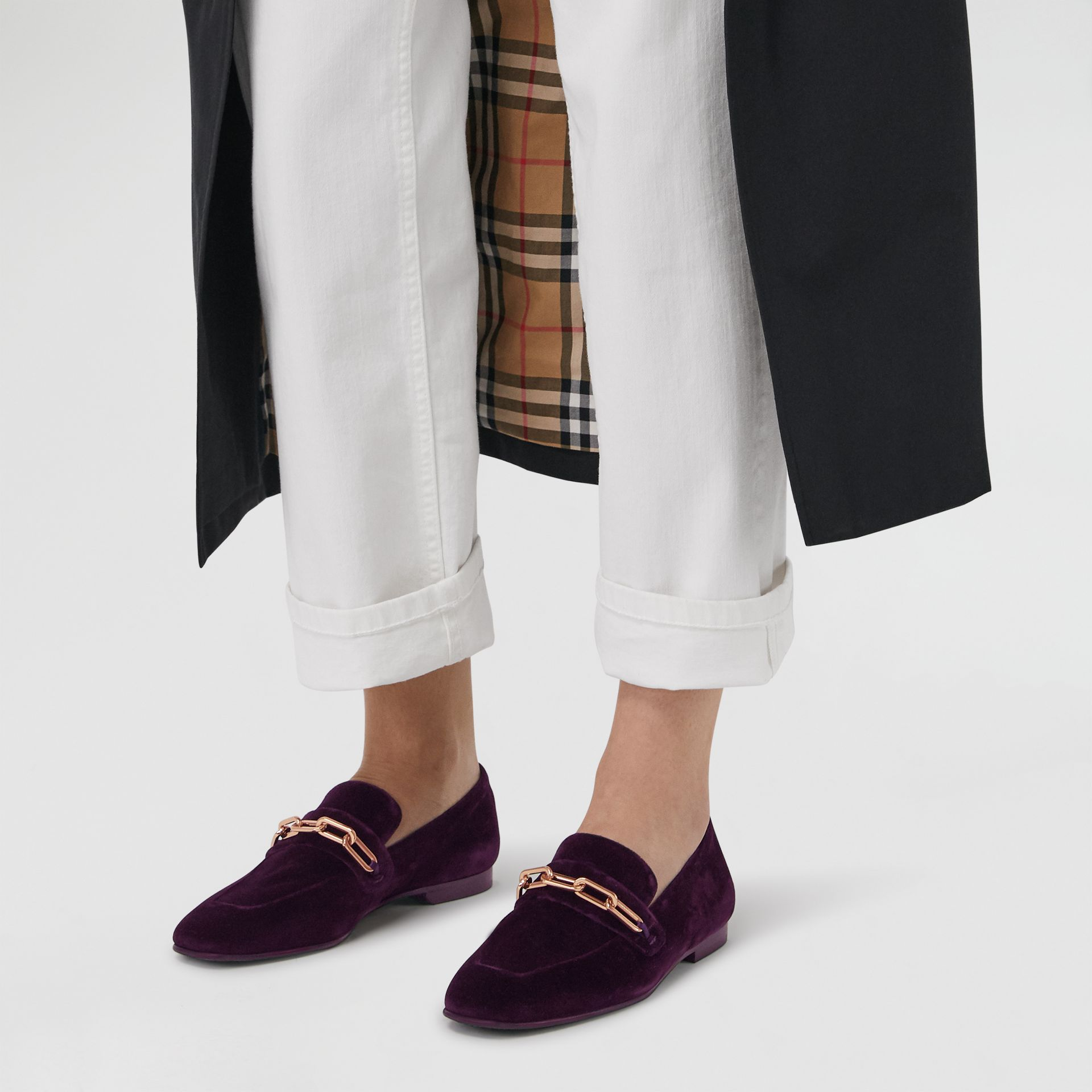 Link Detail Velvet Loafers in Dark Elderberry - Women | Burberry United Kingdom - gallery image 2