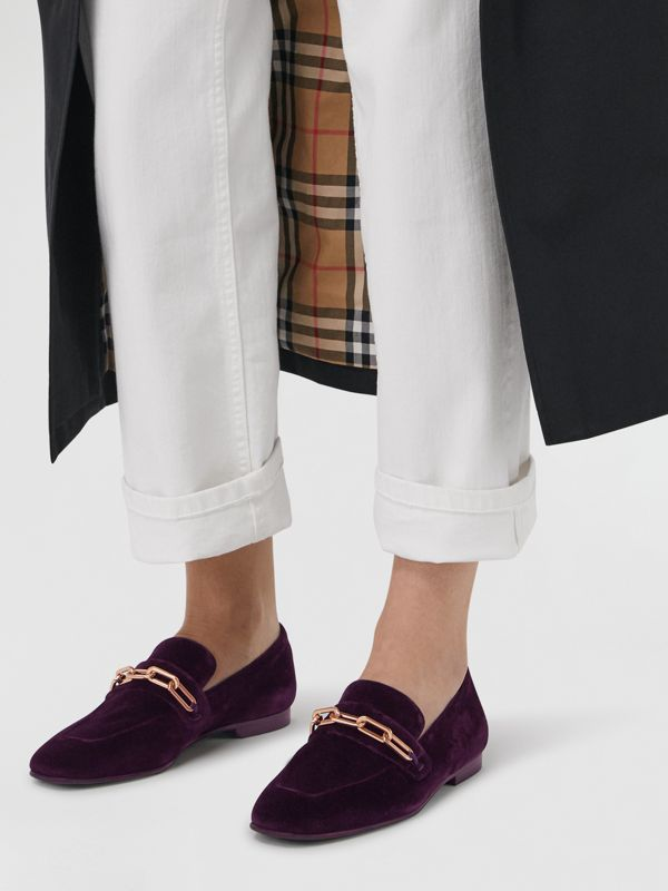 Link Detail Velvet Loafers in Dark Elderberry - Women | Burberry Australia - cell image 2