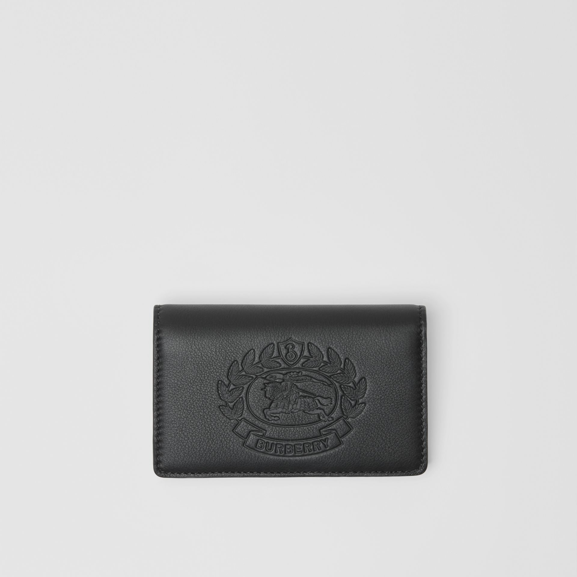 Small Embossed Crest Two-tone Leather Wallet in Black - Women | Burberry - gallery image 0