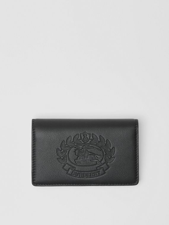 Small Embossed Crest Two-tone Leather Wallet in Black