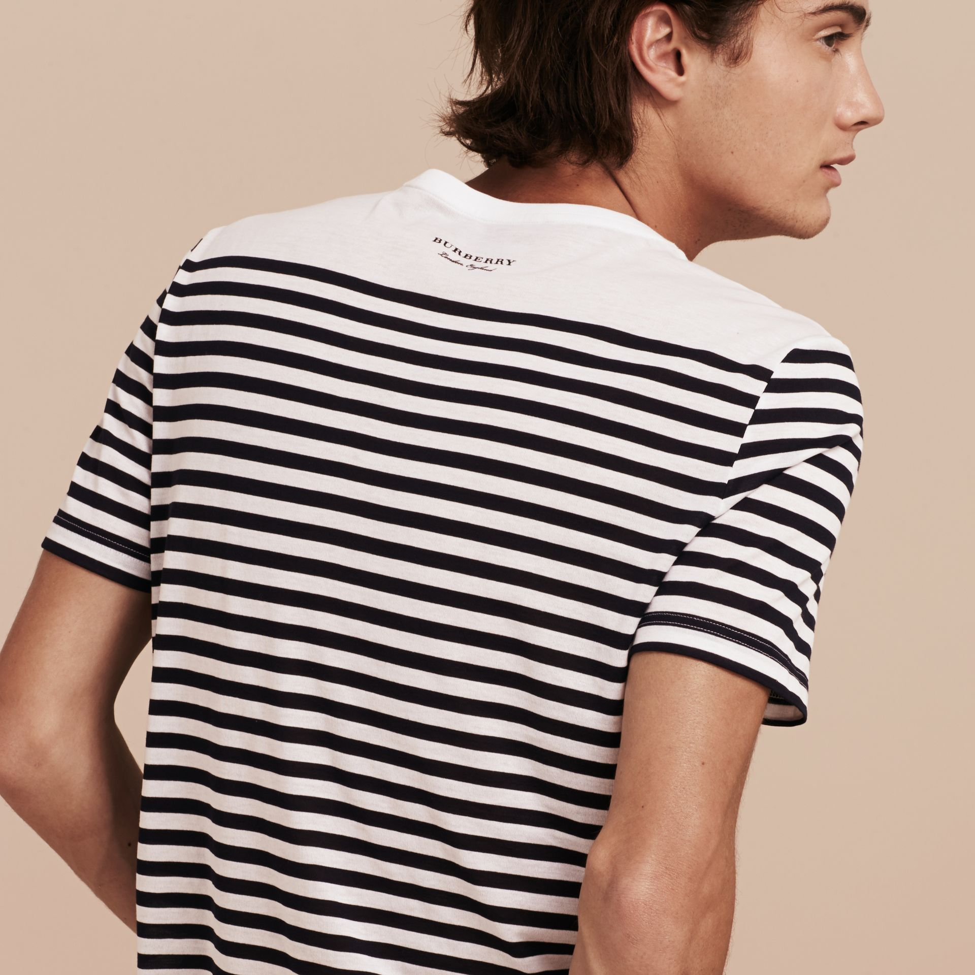 Bright navy Striped Cotton T-shirt Bright Navy - gallery image 3