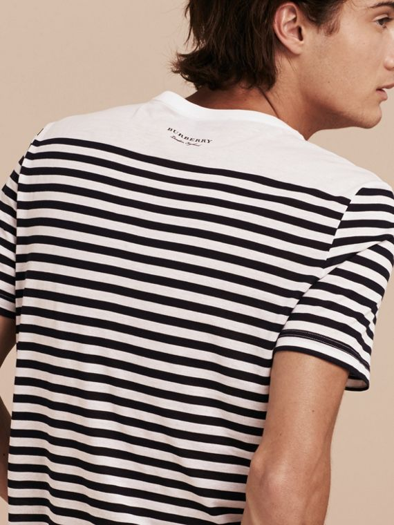 Bright navy Striped Cotton T-shirt Bright Navy - cell image 2