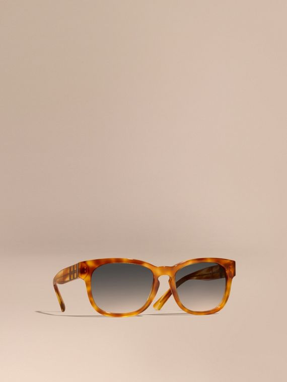 Check Detail Square Frame Sunglasses Light Russet Brown