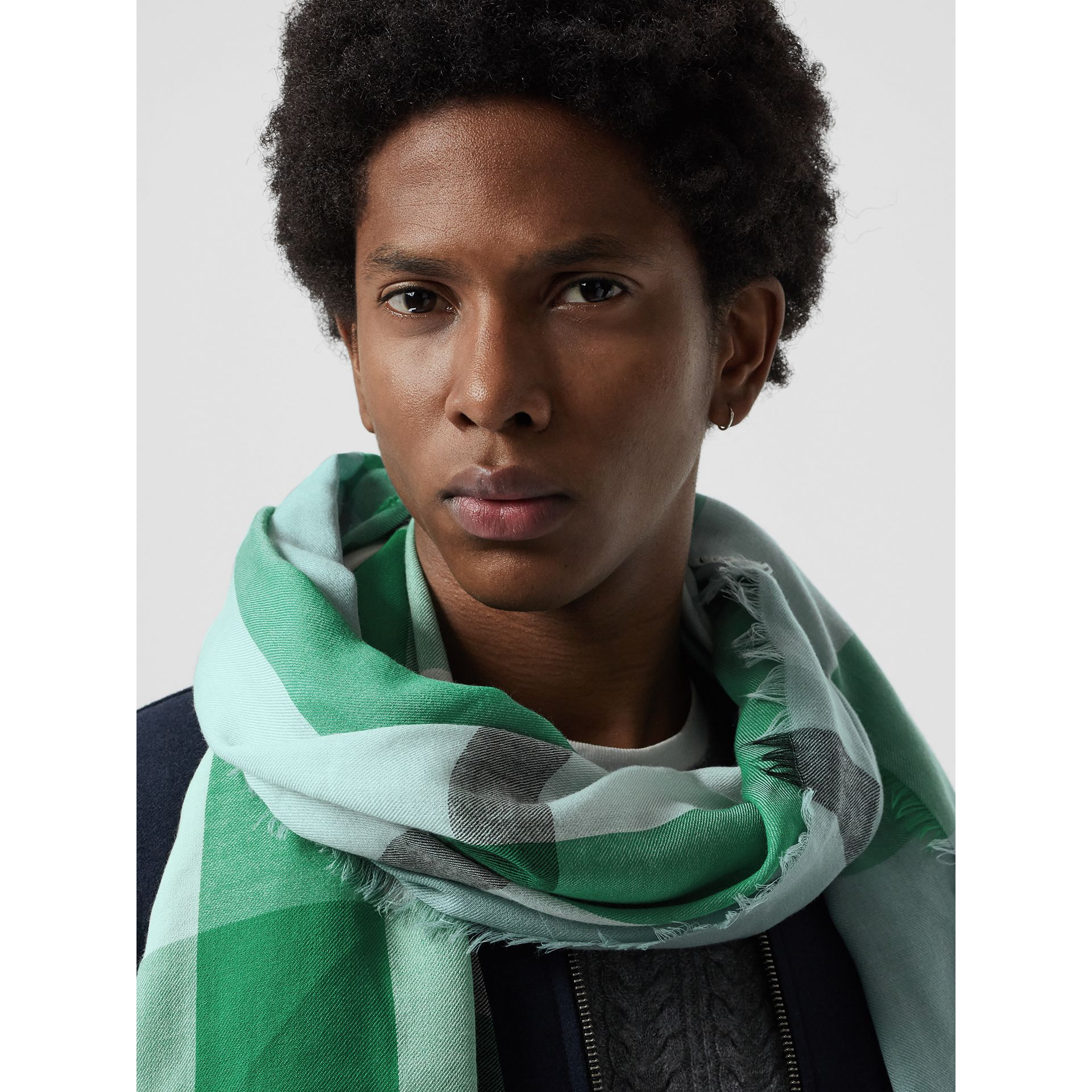 Lightweight Check Wool and Silk Scarf in Pale Peridot Blue | Burberry United States - gallery image 6