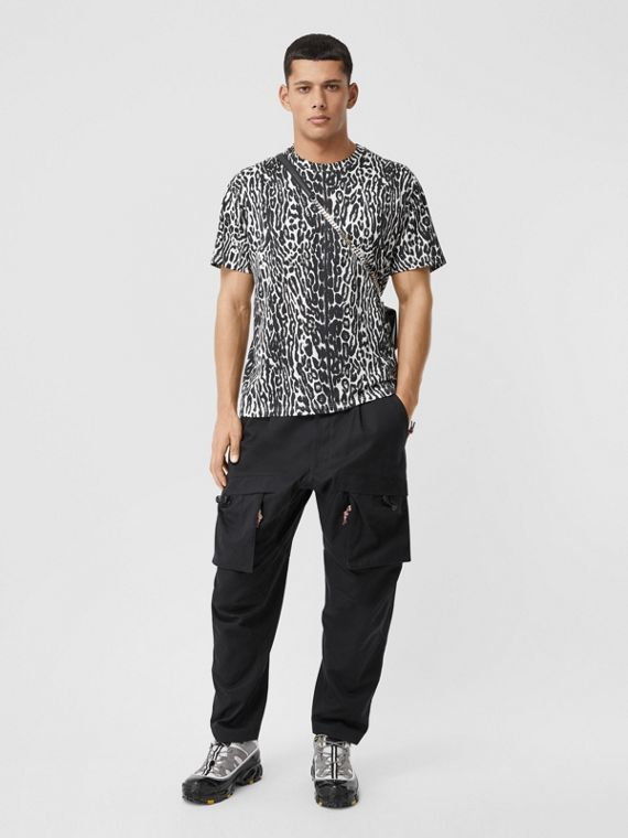 Leopard Print Cotton Oversized T-shirt in Black