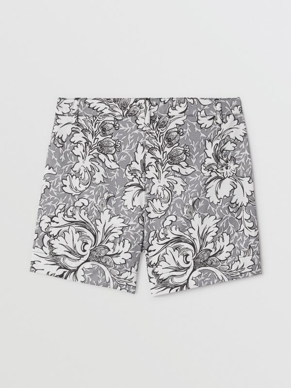 Floral Print Cotton Tailored Shorts in Mid Grey Melange | Burberry United Kingdom - cell image 3
