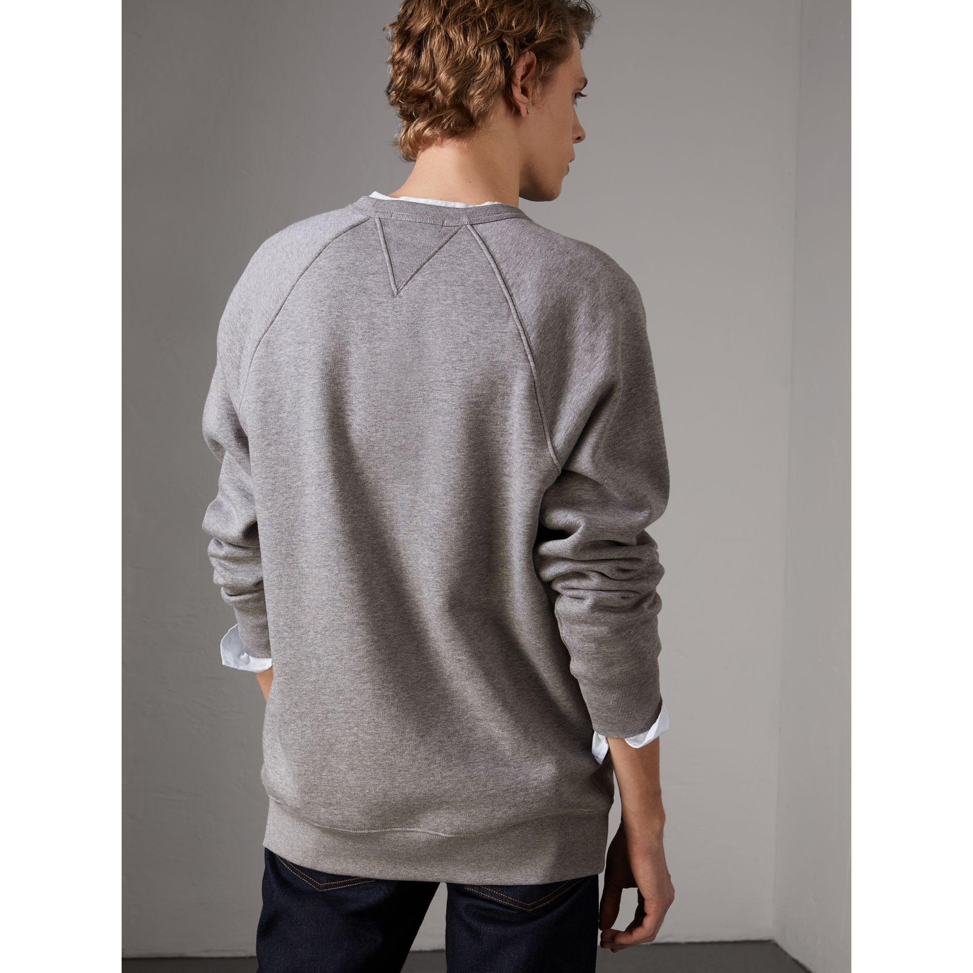 Doodle and Equestrian Knight Print Sweatshirt in Pale Grey Melange - Men | Burberry United Kingdom - gallery image 2