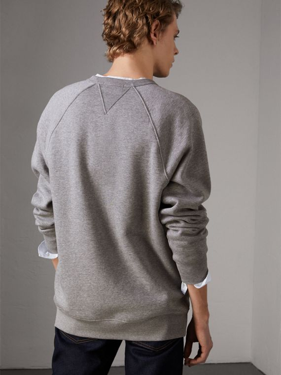 Doodle and Equestrian Knight Print Sweatshirt in Pale Grey Melange - Men | Burberry United Kingdom - cell image 2
