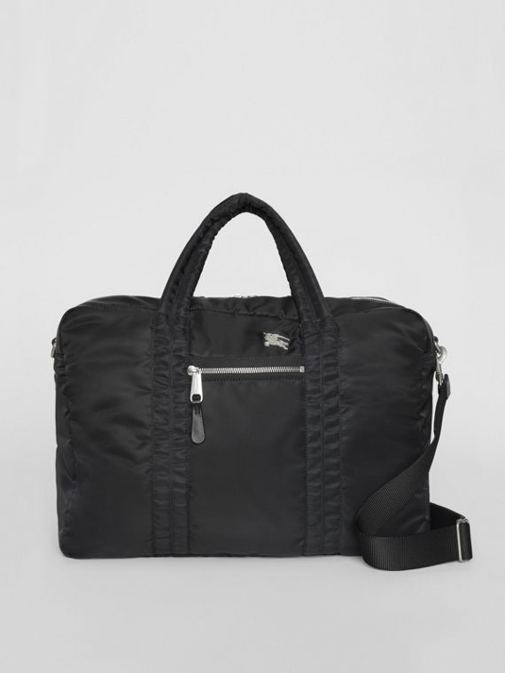 EKD Aviator Nylon and Leather Briefcase in Black
