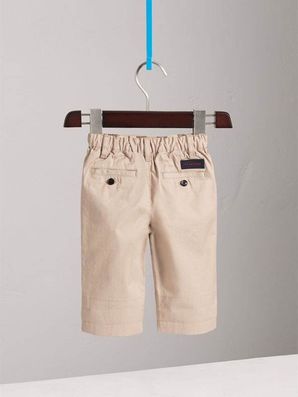 Cotton Twill Chinos in Grey Stone - Children | Burberry - cell image 3