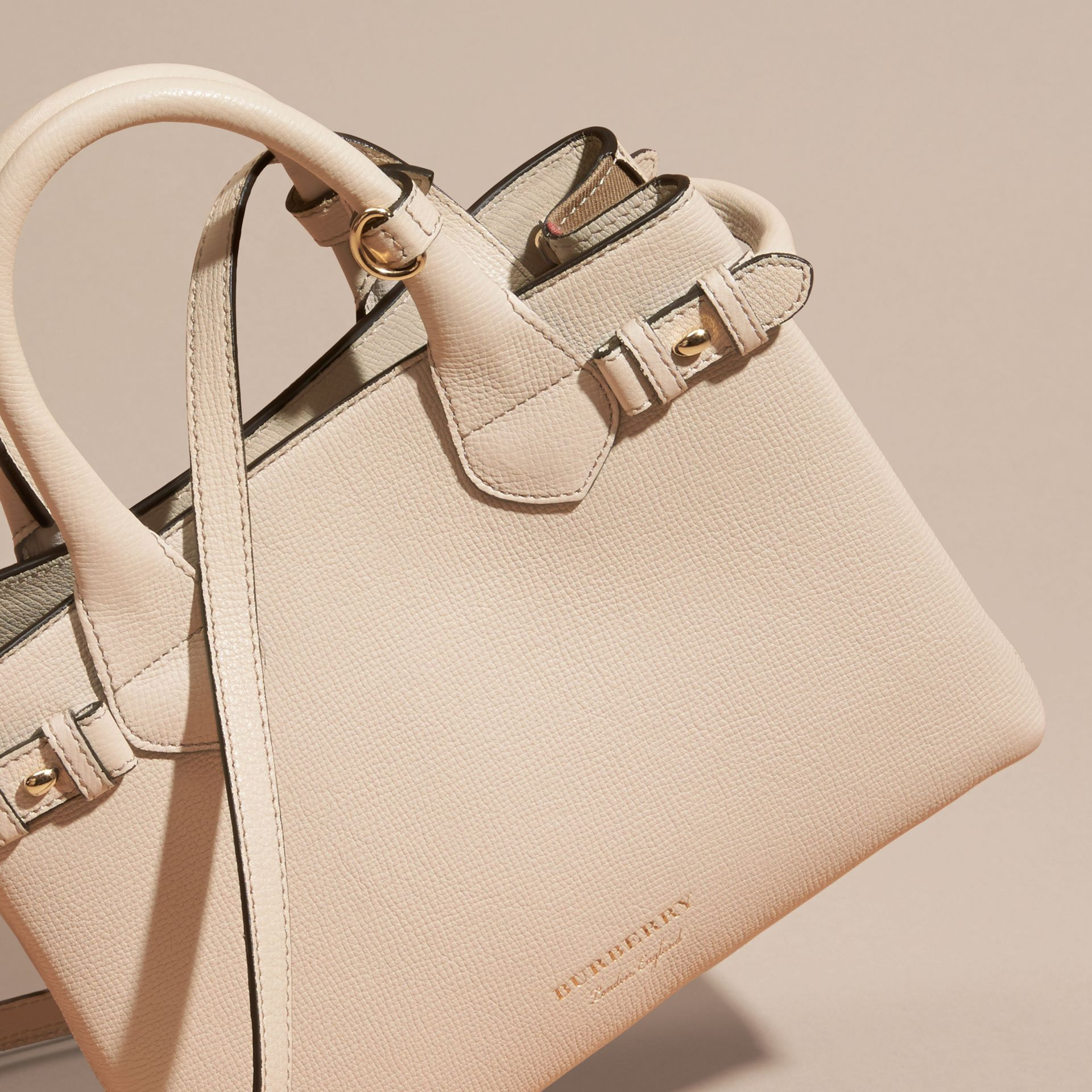 The Small Banner in Leather and House Check in Limestone - Women | Burberry - gallery image 7