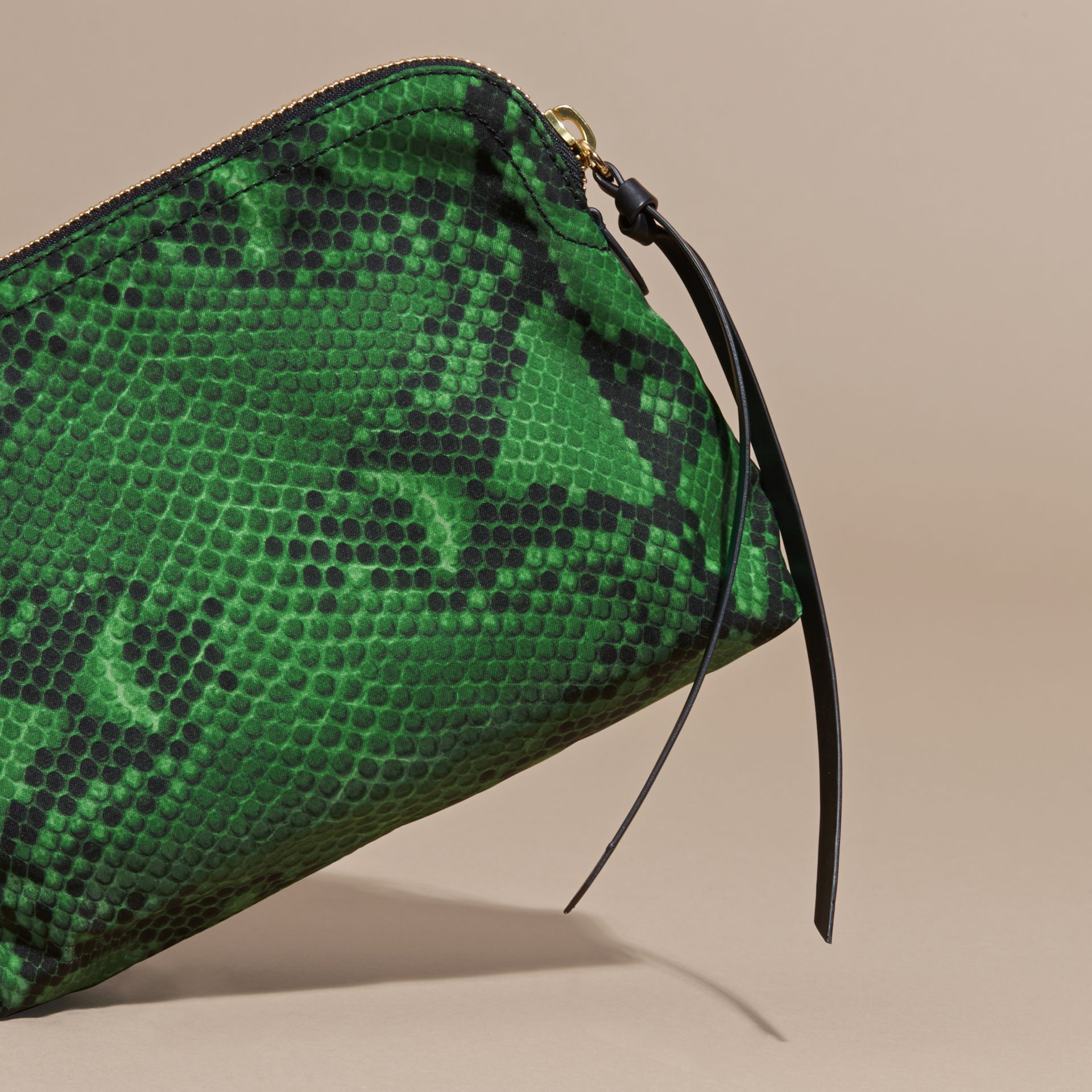 Large Zip-top Python-print Technical Nylon Pouch in Bright Green - gallery image 4