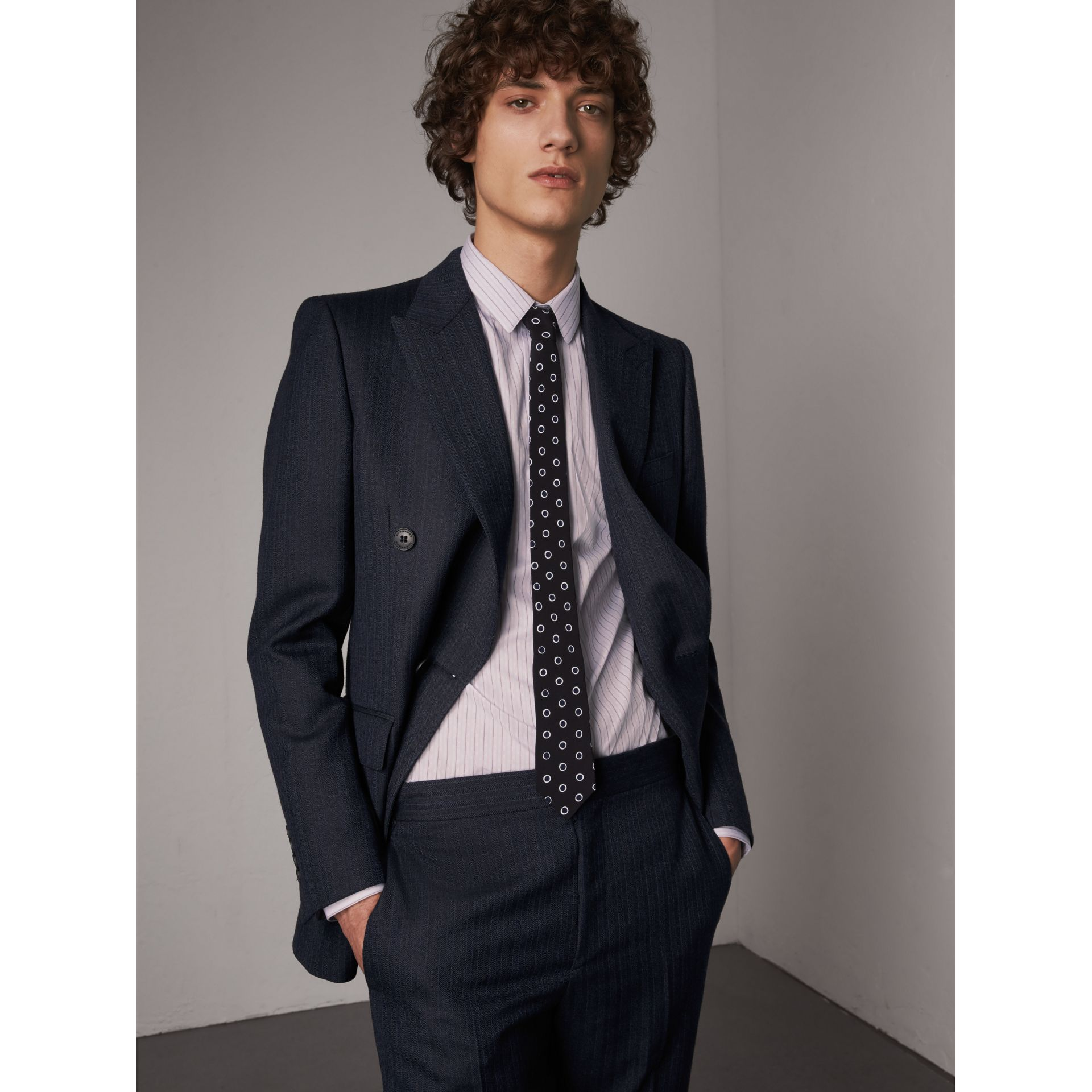Slim Cut Spot Print Silk Crepe Tie in Navy - Men | Burberry - gallery image 2