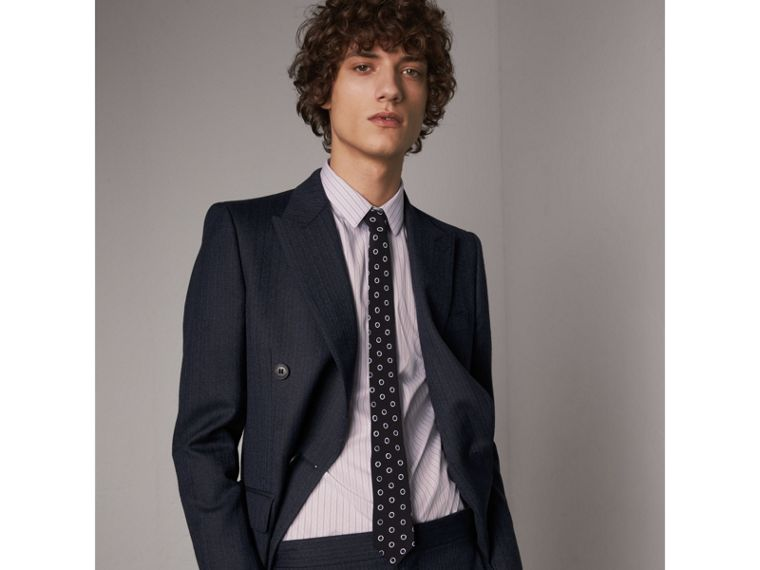 Slim Cut Spot Print Silk Crepe Tie in Navy - Men | Burberry - cell image 2