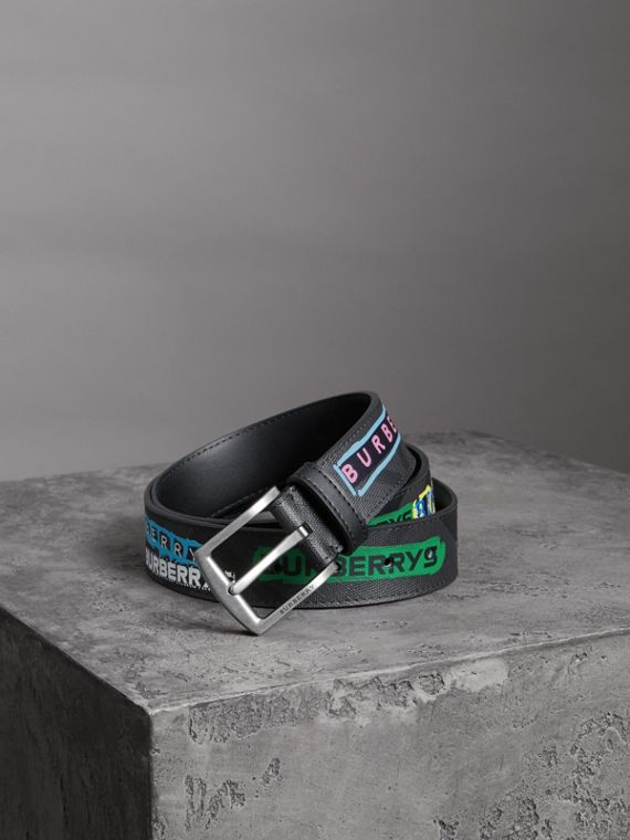 Graffiti Logo Print London Check Belt in Charcoal/black