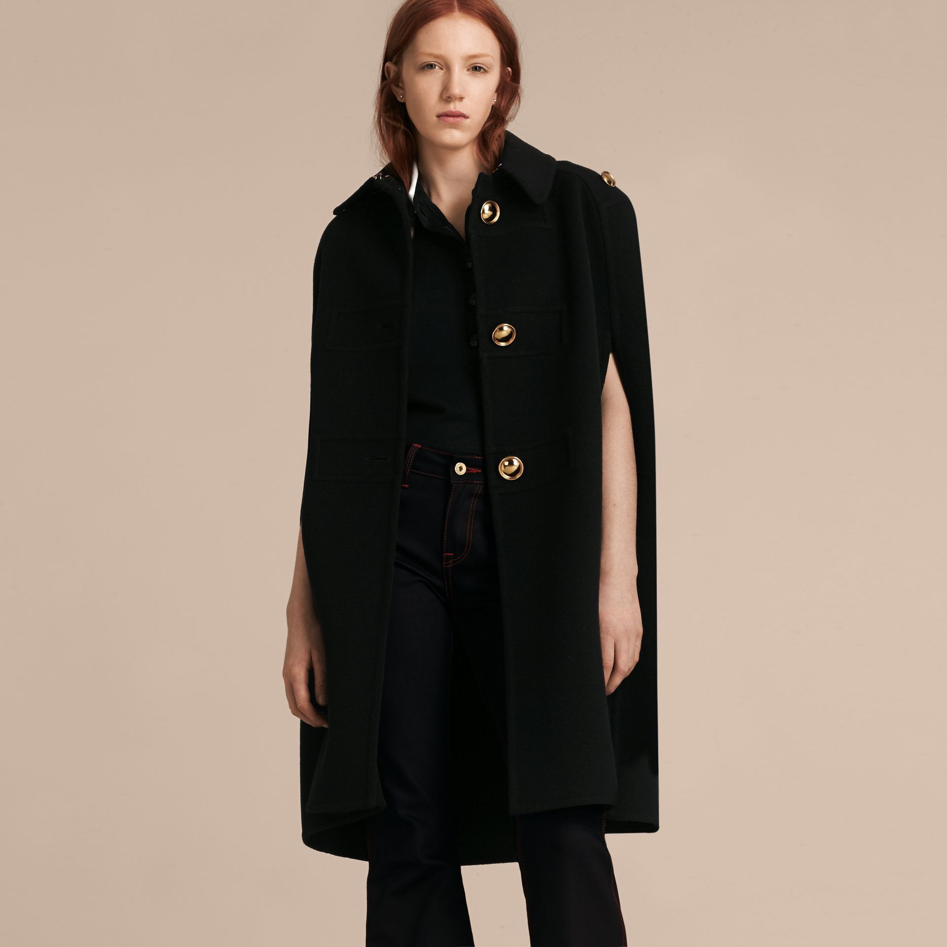 Black Double Cashmere Military Cape - gallery image 7