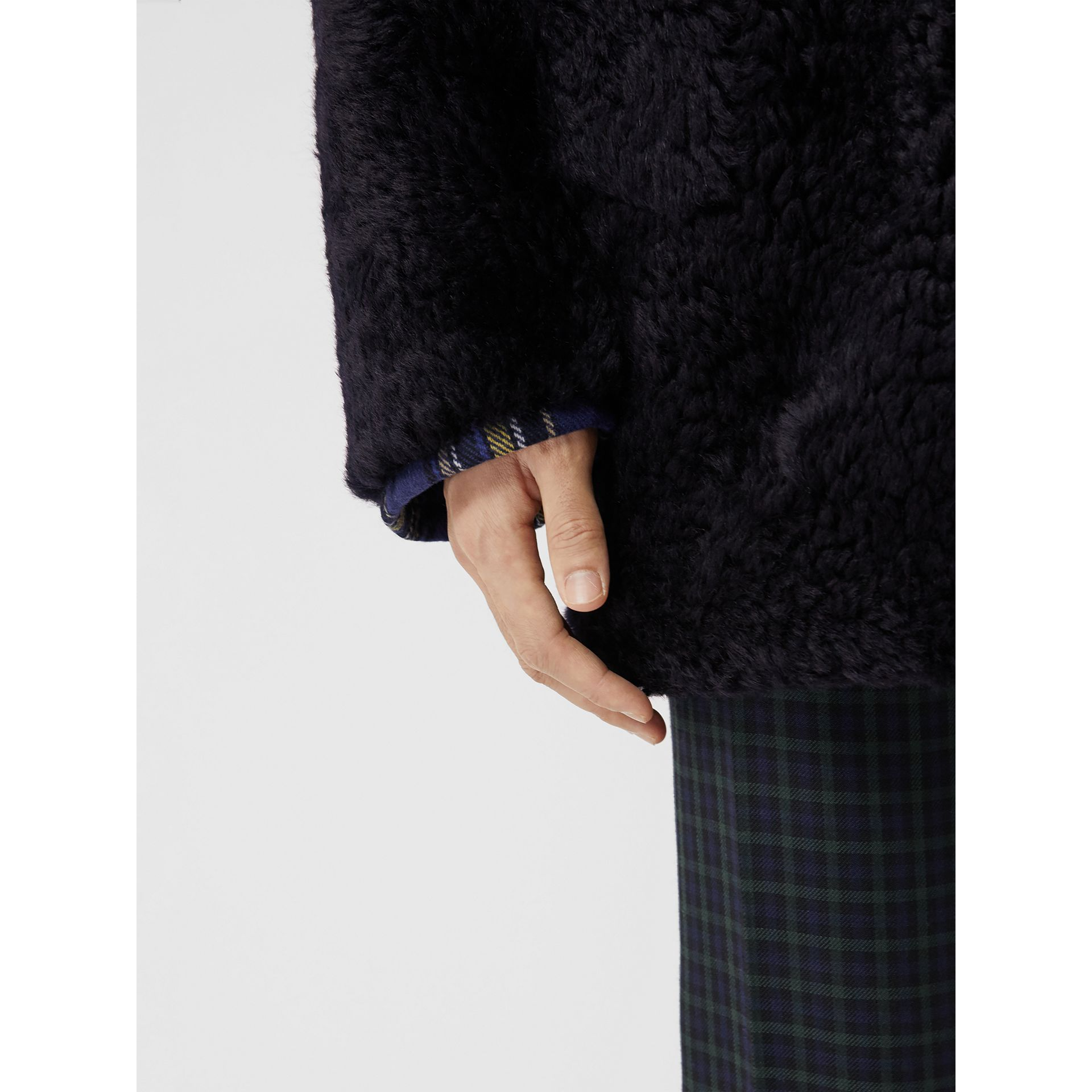 Curly Shearling Coat in Navy - Men | Burberry United Kingdom - gallery image 1