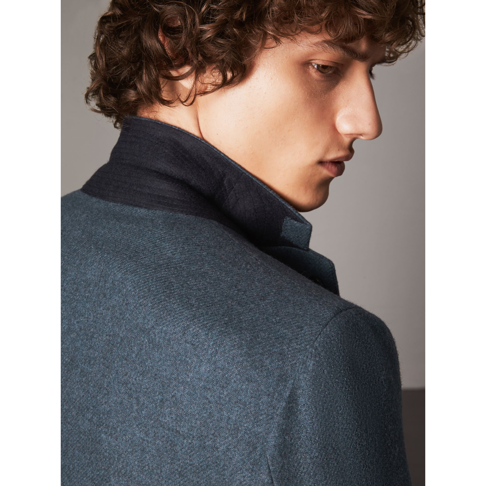 Soho Fit Shetland Wool Tailored Jacket in Dark Airforce Blue - Men | Burberry - gallery image 2