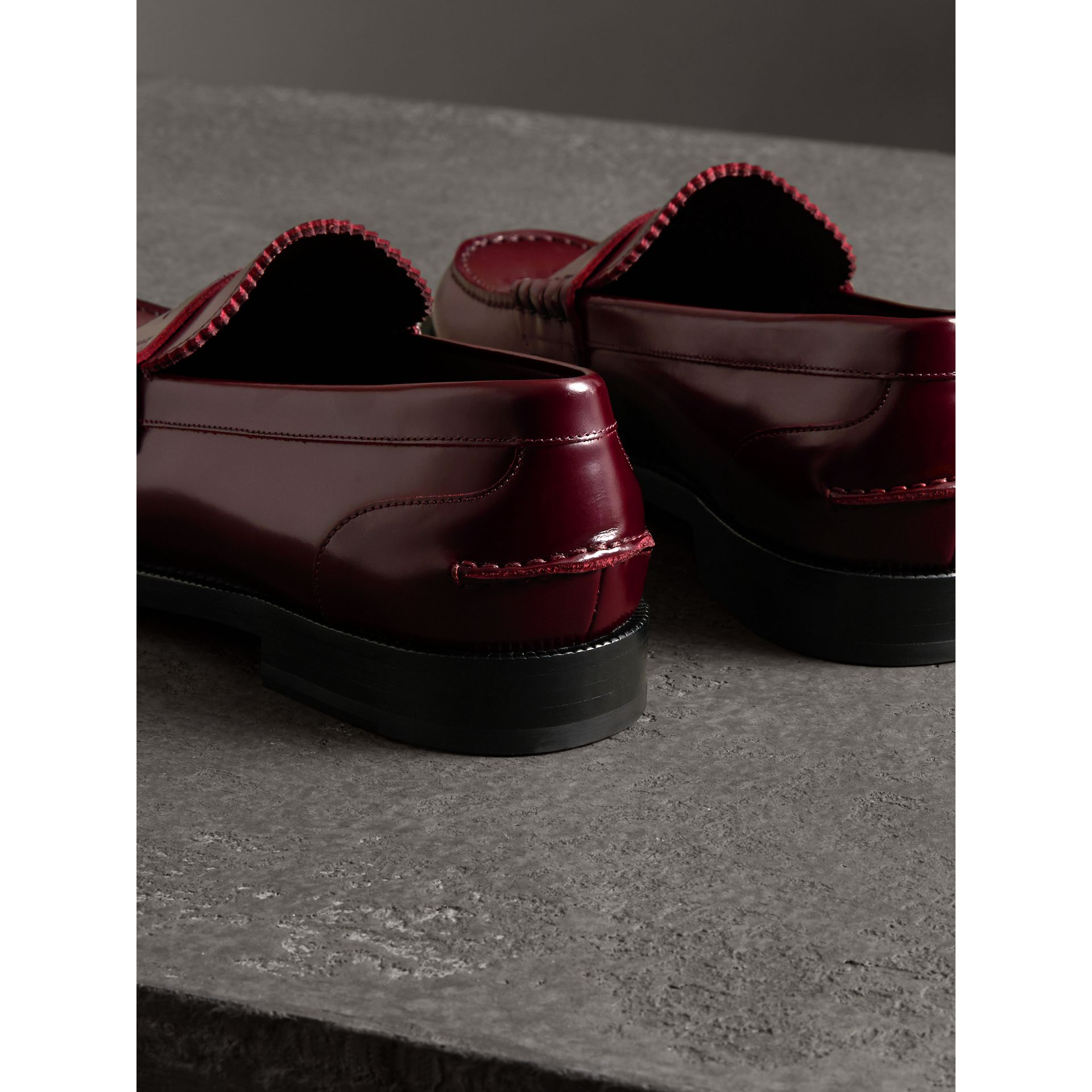 Leather Penny Loafers in Ebony Red - Men | Burberry - gallery image 2