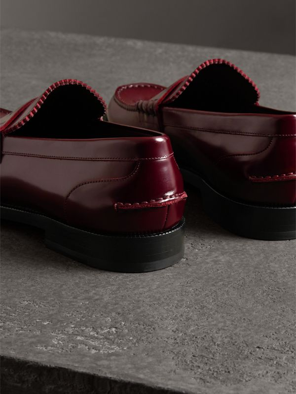 Leather Penny Loafers in Ebony Red - Men | Burberry United Kingdom - cell image 3