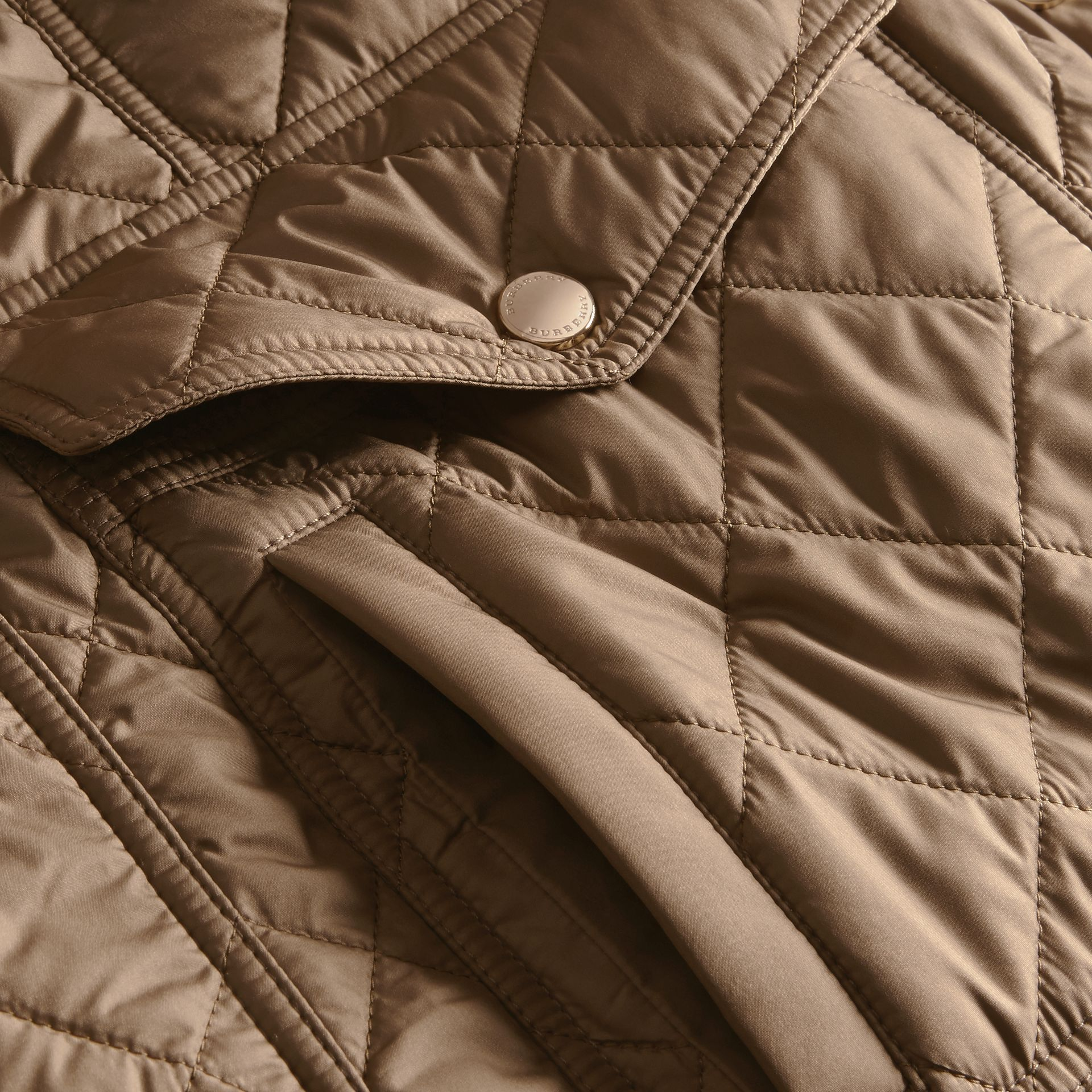 Mid taupe Check Lined Diamond Quilted Jacket Mid Taupe - gallery image 2