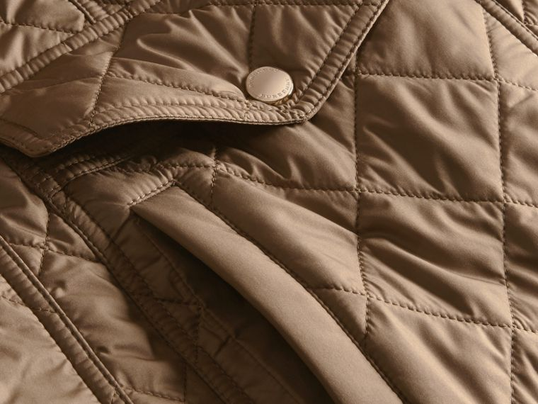 Mid taupe Check Lined Diamond Quilted Jacket Mid Taupe - cell image 1