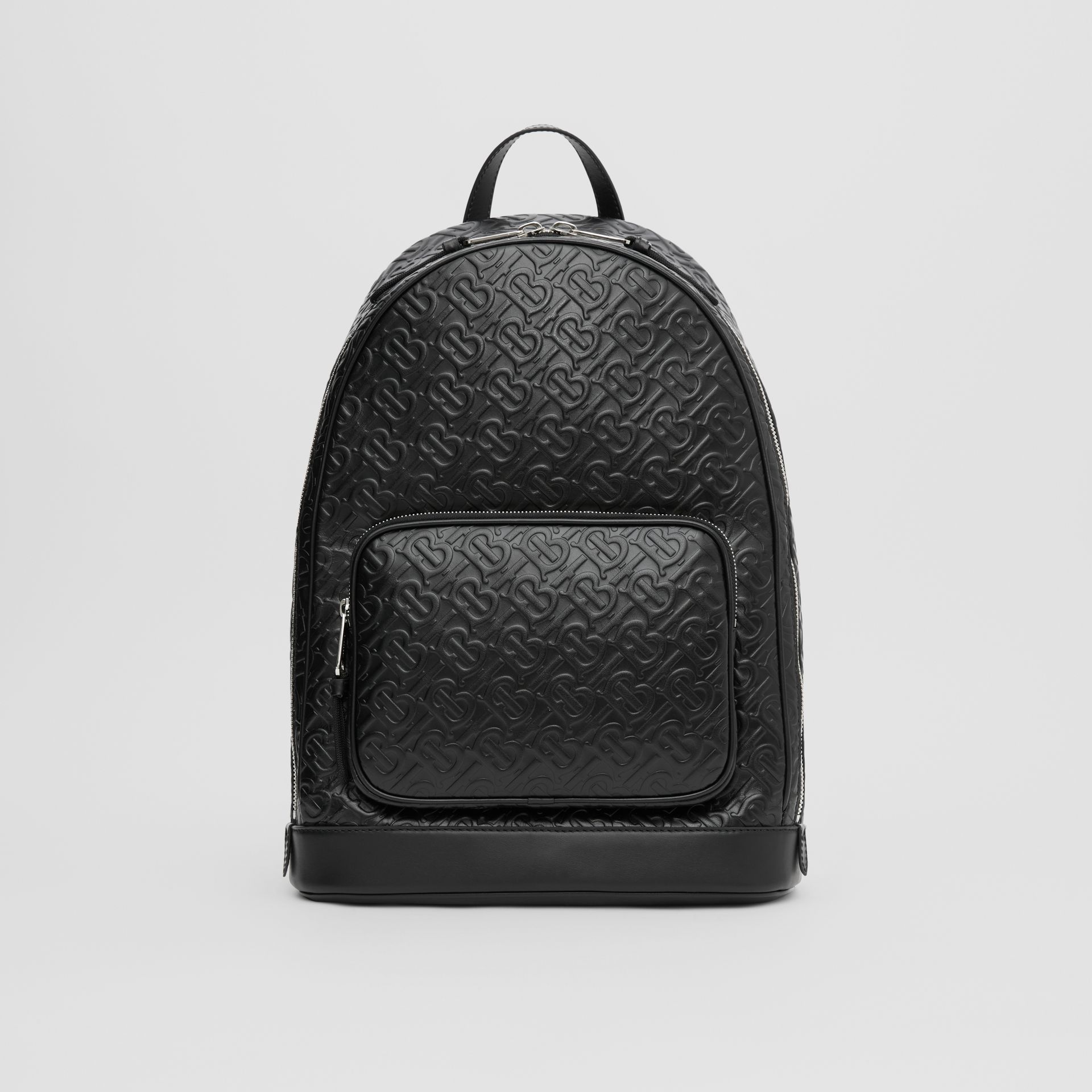 Monogram Leather Backpack in Black - Men | Burberry - gallery image 0