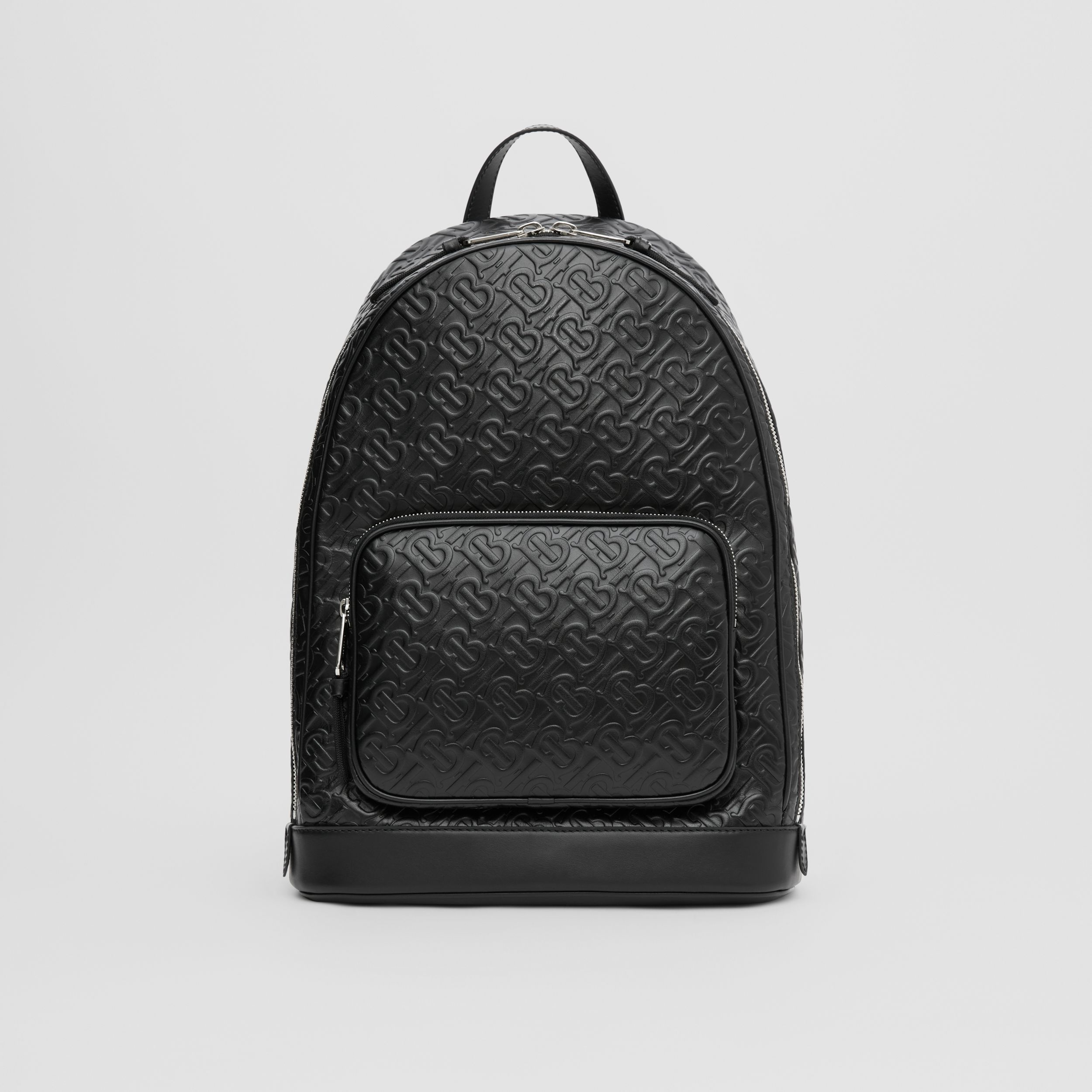Monogram Leather Backpack in Black - Men | Burberry - 1