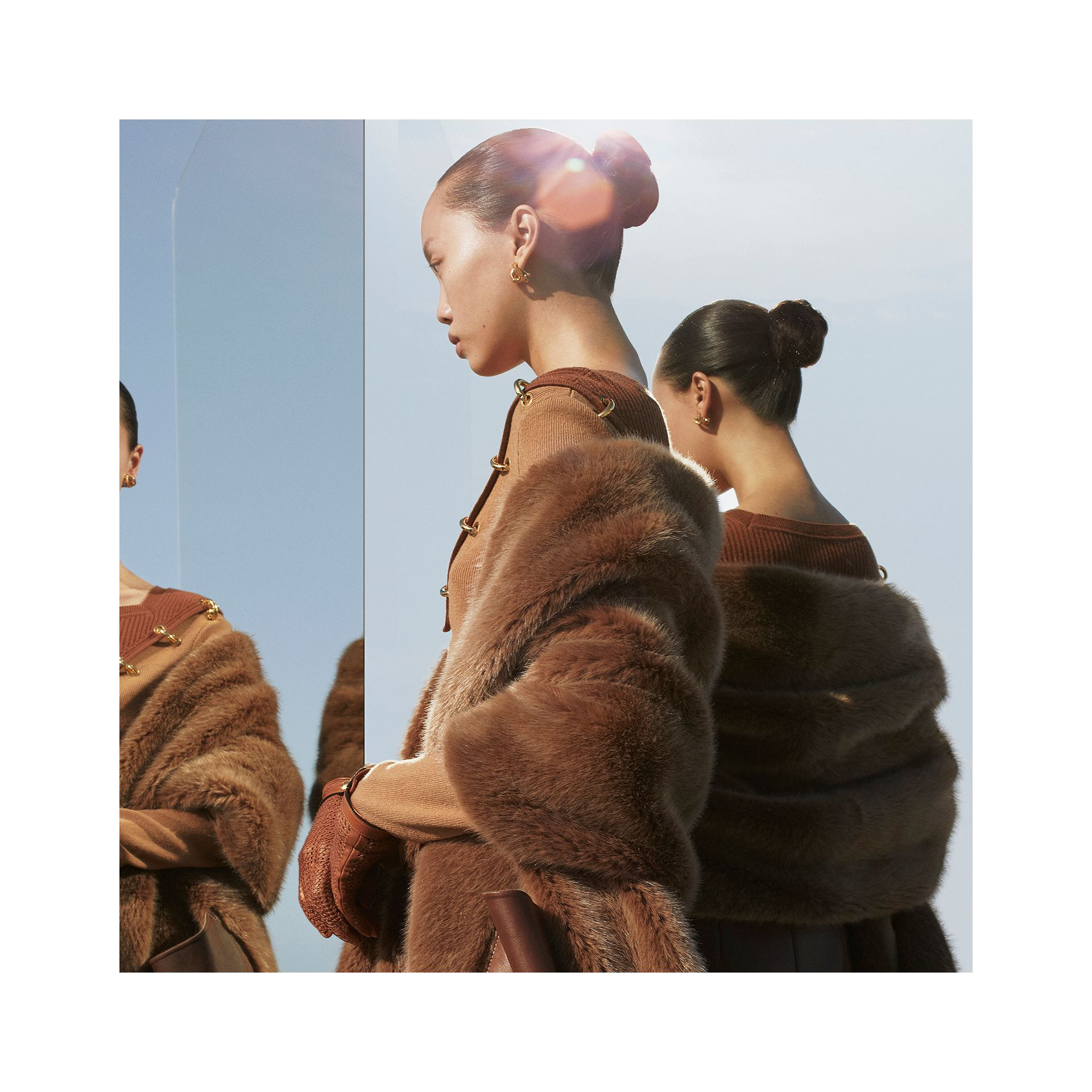 Faux Fur and Cashmere Stole in Camel - Women | Burberry - gallery image 1