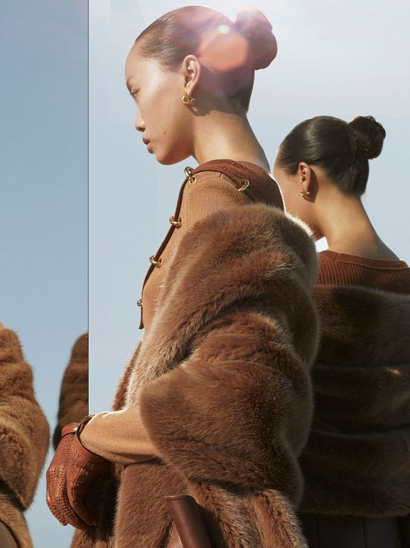 Faux Fur and Cashmere Stole in Camel - Women | Burberry - cell image 1