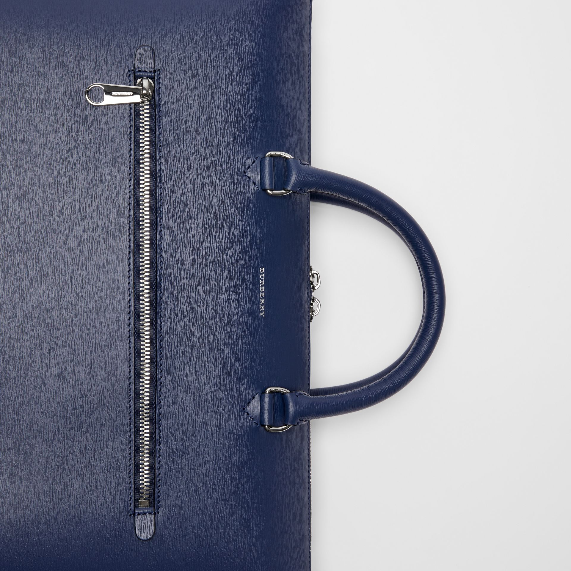 Large Textured Leather Briefcase in Navy - Men | Burberry - gallery image 1