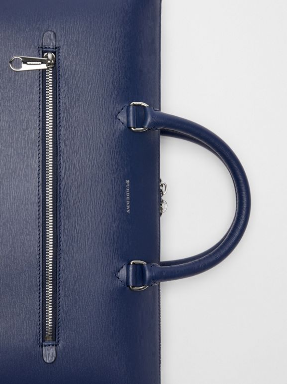 Large Textured Leather Briefcase in Navy - Men | Burberry United States - cell image 1