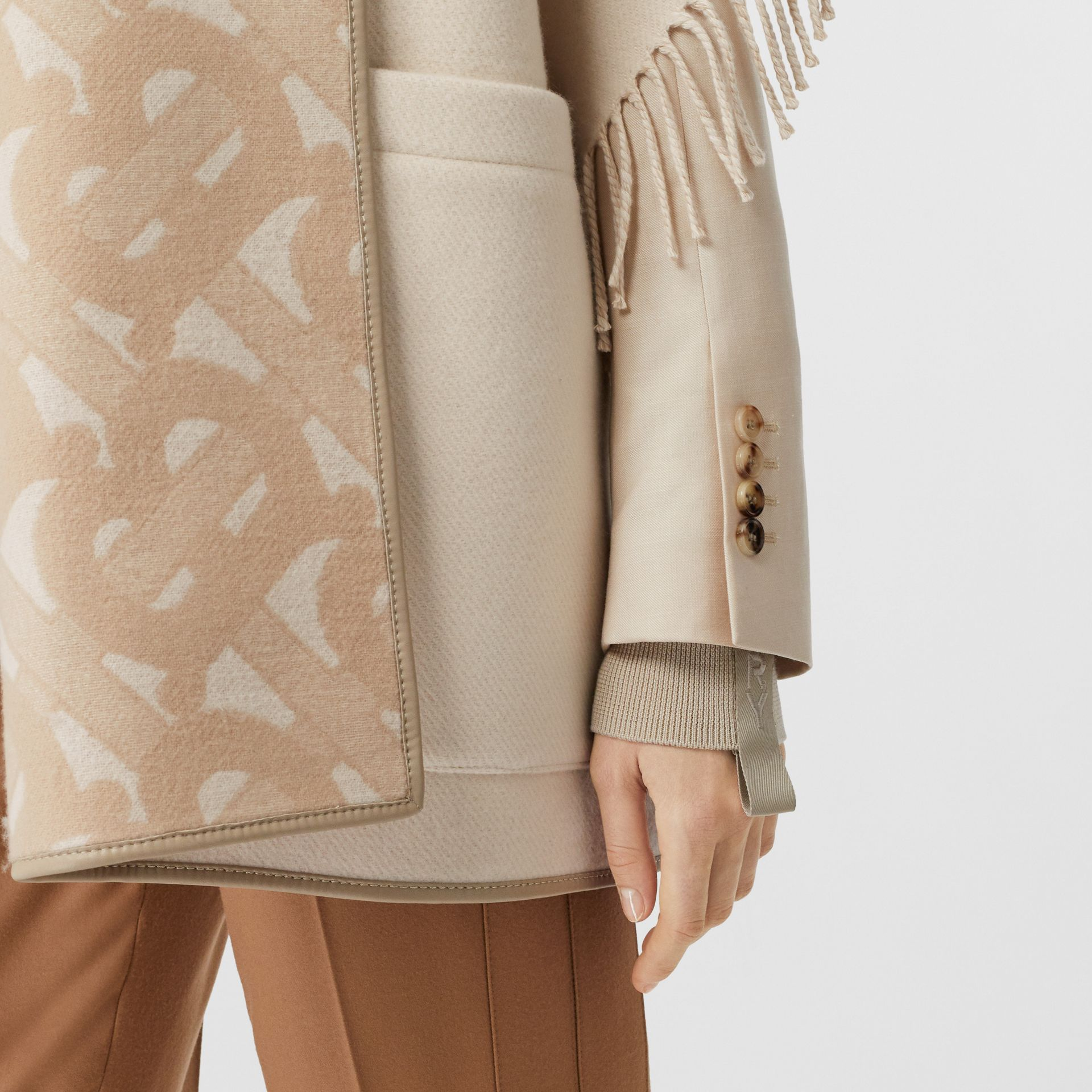 Monogram Merino Wool Cashmere Jacquard Cape in Soft Fawn - Women | Burberry United Kingdom - gallery image 4