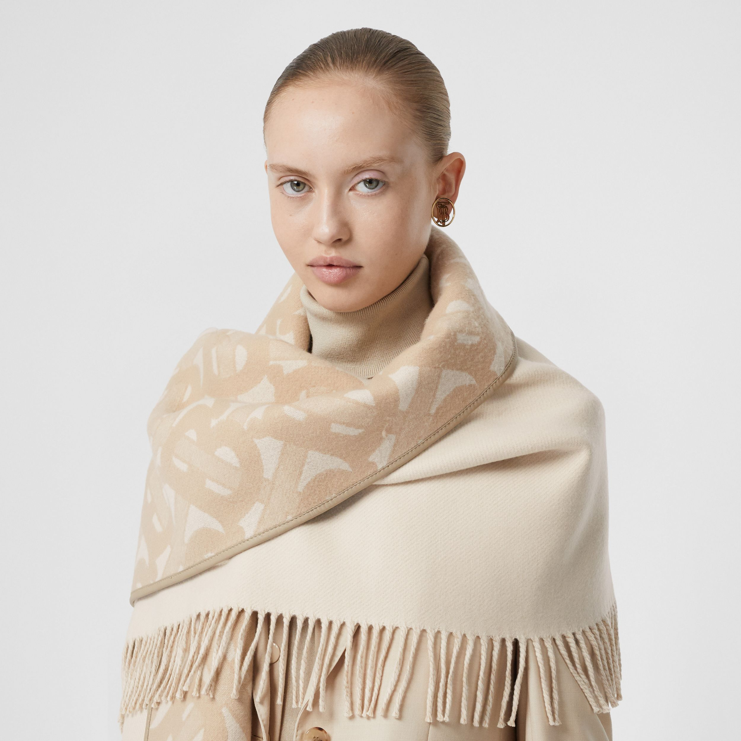 Monogram Merino Wool Cashmere Jacquard Cape in Soft Fawn - Women | Burberry - 2