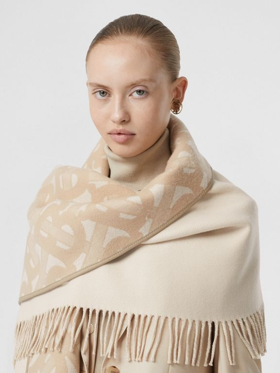 Monogram Merino Wool Cashmere Jacquard Cape in Soft Fawn - Women | Burberry United Kingdom - cell image 1
