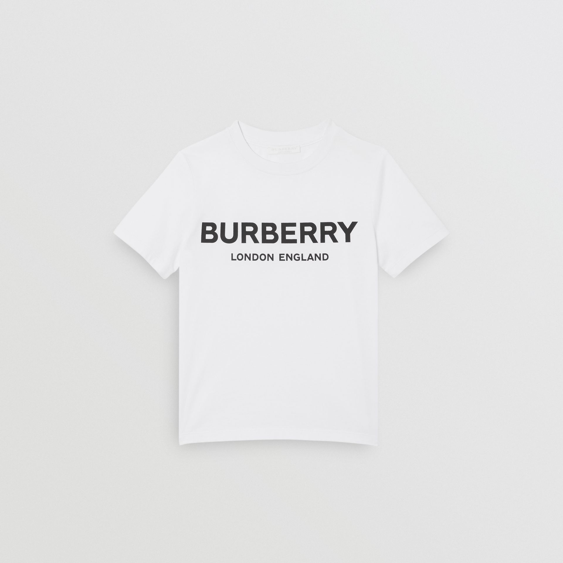 Logo Print Cotton T-shirt in White | Burberry Canada - gallery image 0