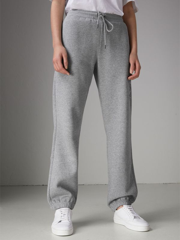 Embroidered Jersey Sweatpants in Pale Grey Melange - Women | Burberry - cell image 3