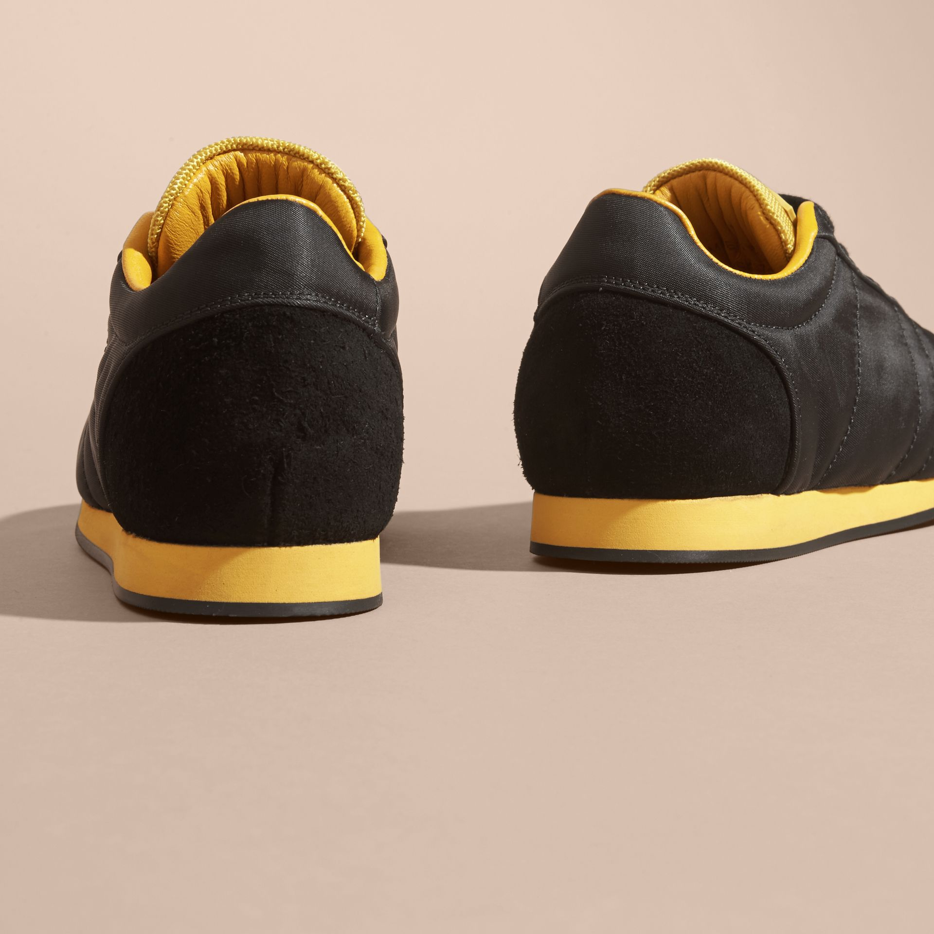 Black/burnt yellow Colour Block Satin and Leather Sneakers Black/burnt Yellow - gallery image 4