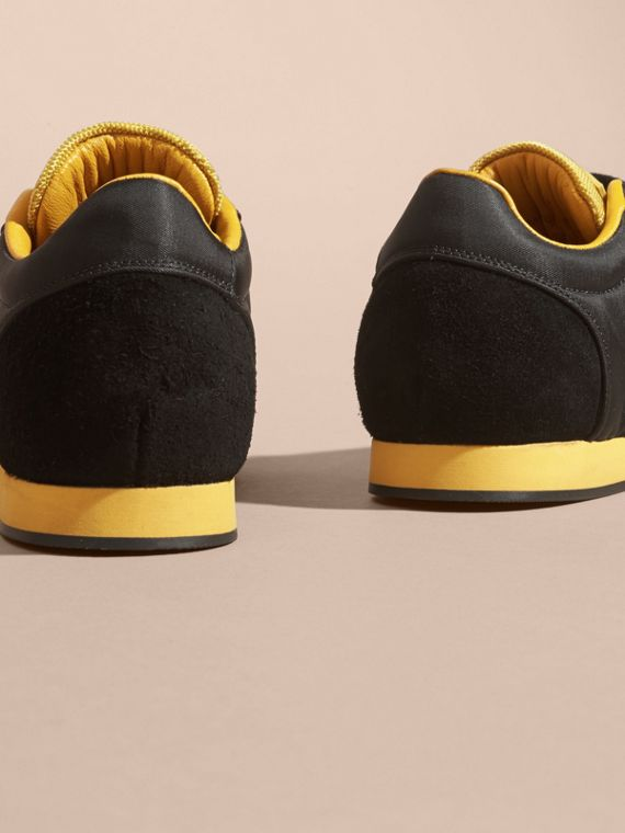 Black/burnt yellow Colour Block Satin and Leather Sneakers Black/burnt Yellow - cell image 3