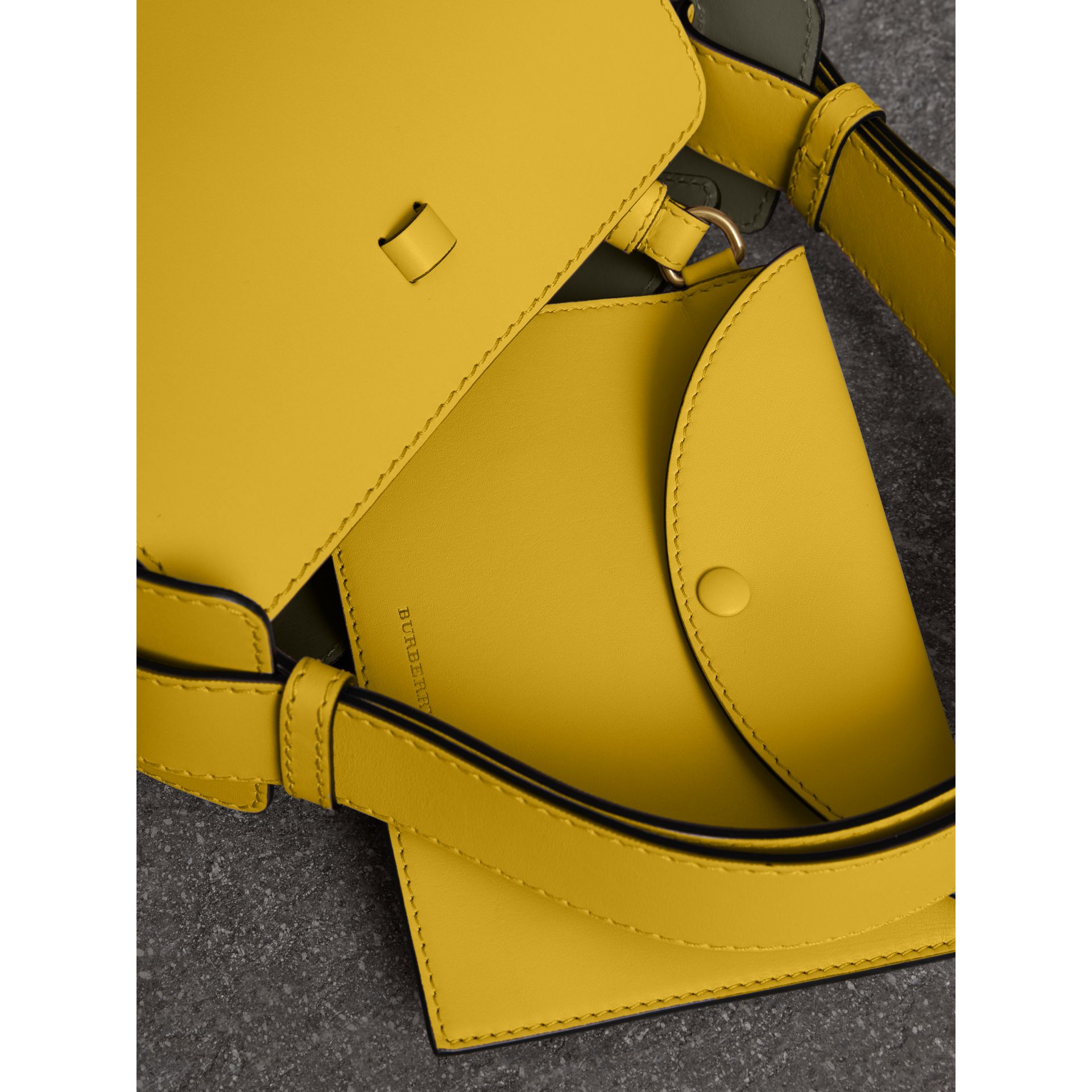 The Small Leather Bucket Bag in Bright Larch Yellow - Women | Burberry United States - gallery image 4
