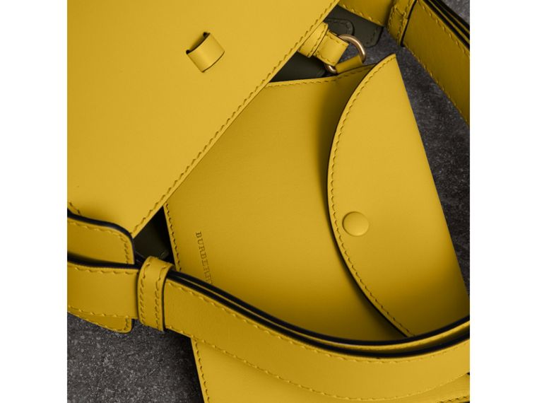The Small Leather Bucket Bag in Bright Larch Yellow - Women | Burberry - cell image 4