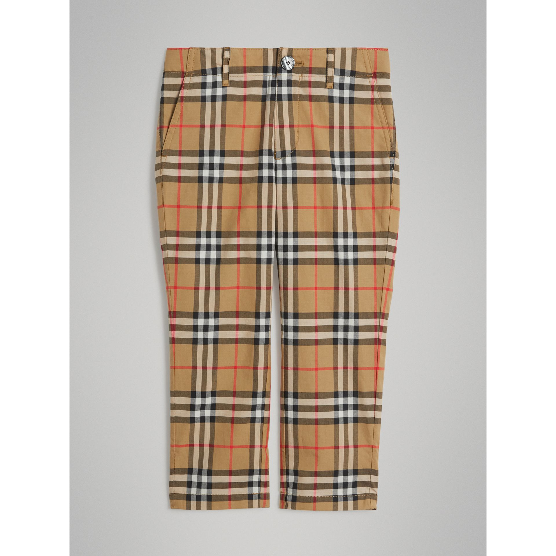 Vintage Check Cotton Tailored Trousers in Antique Yellow - Boy | Burberry United States - gallery image 0