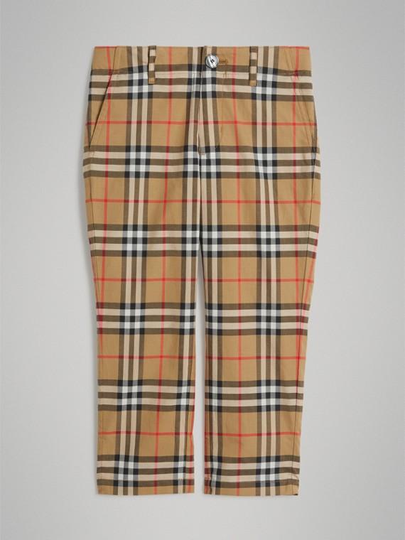 Calças de alfaiataria de algodão em Vintage Check (Amarelo Antigo)