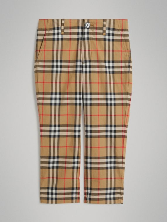Elegante Hose aus Baumwolle mit Vintage Check-Muster (Antikgelb)