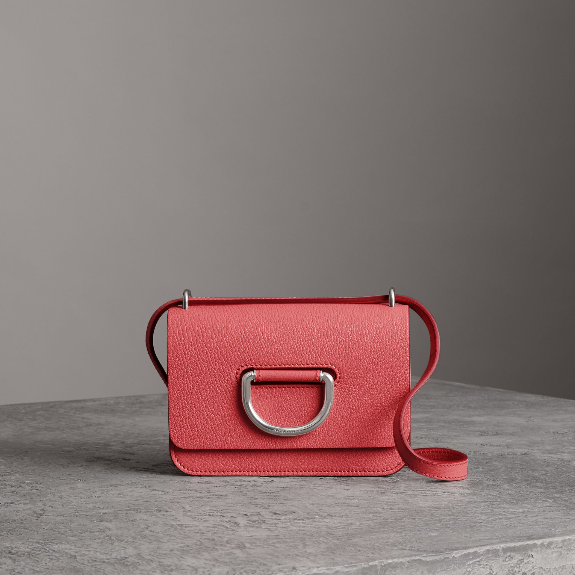 The Mini Leather D-Ring Bag in Bright Coral Pink - Women | Burberry - gallery image 0