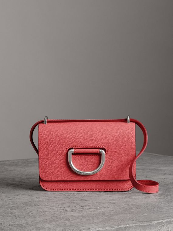 The Mini Leather D-Ring Bag in Bright Coral Pink