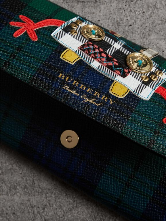 Creature Appliqué Tartan Leather Wallet with Chain in Bright Navy - Women | Burberry United Kingdom - cell image 1