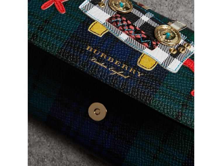 Creature Appliqué Tartan Leather Wallet with Chain in Bright Navy - Women | Burberry - cell image 1